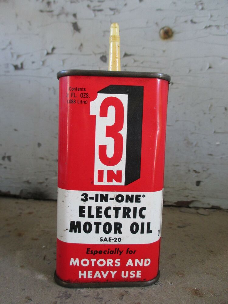 Vintage 3 in one electric motor oil can w plastic spout for 3 in one motor oil