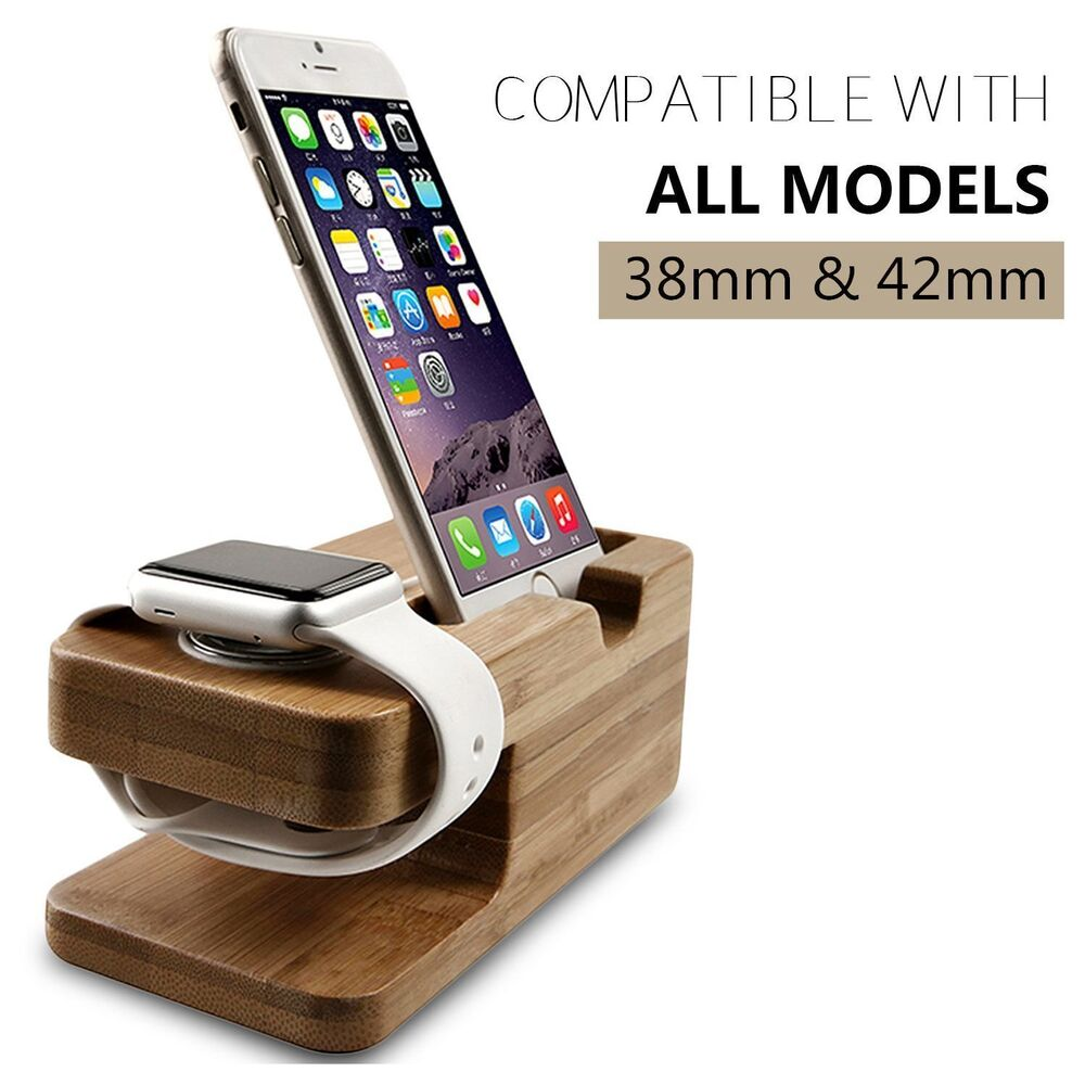 bamboo charging dock station charger holder stand for. Black Bedroom Furniture Sets. Home Design Ideas