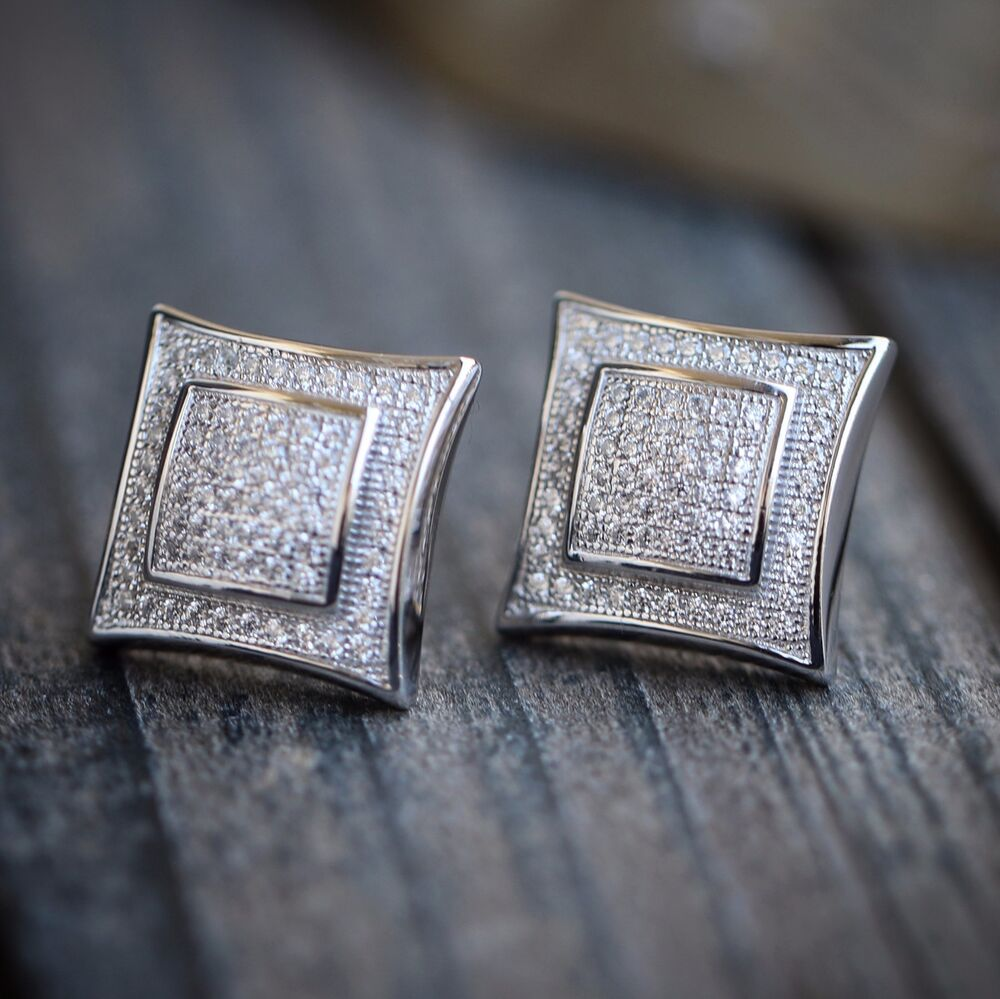 Men 39 s white gold square kite iced out hip hop stud for Men s jewelry earrings