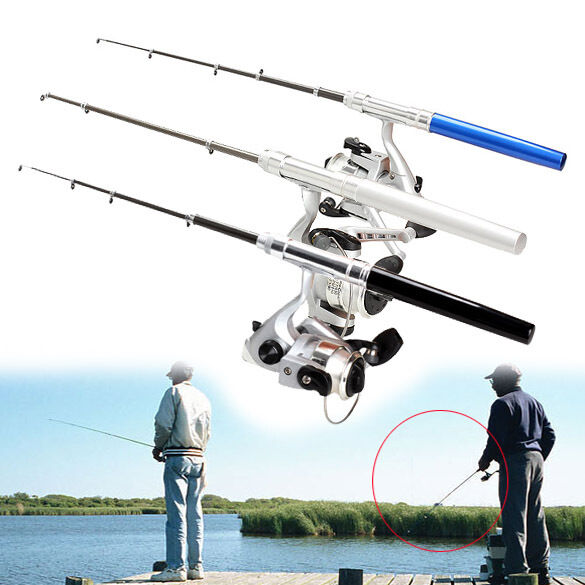 Telescopic fishing rod pole reel mini pocket pen type with for Types of fishing poles