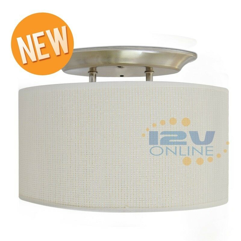 12V LED White Fabric Shade Dinette Ceiling Light RV Camper