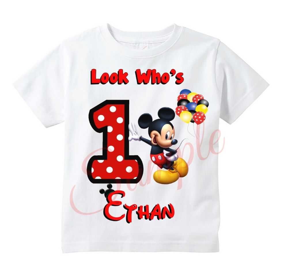 custom mickey mouse t shirt personalize birthday gift favor party t shirt ebay. Black Bedroom Furniture Sets. Home Design Ideas