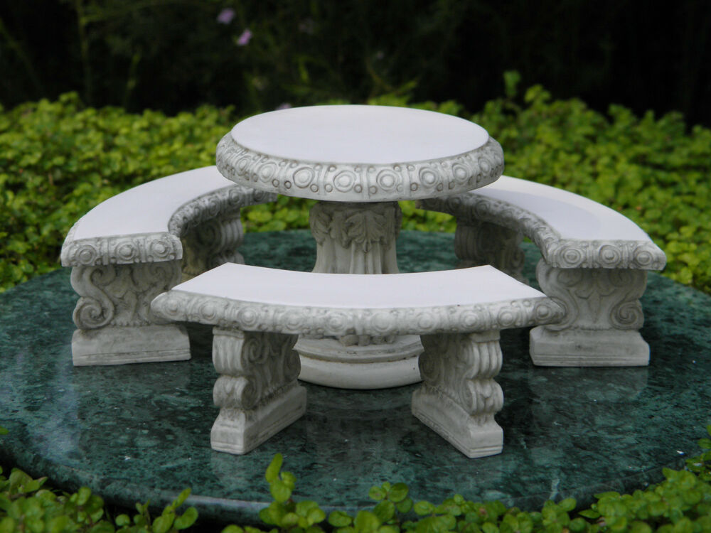 miniature dollhouse fairy garden furniture gray resin table bench set new ebay. Black Bedroom Furniture Sets. Home Design Ideas
