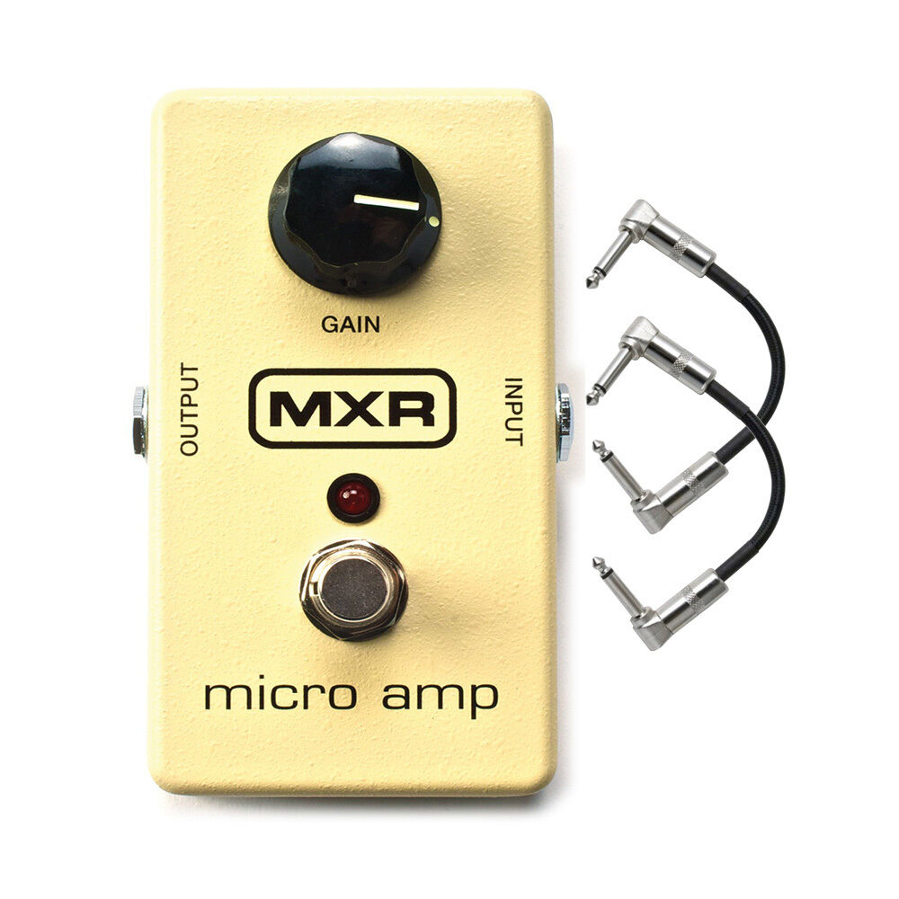 mxr m133 micro amp gain boost guitar effects pedal w 2 patch cables ebay. Black Bedroom Furniture Sets. Home Design Ideas