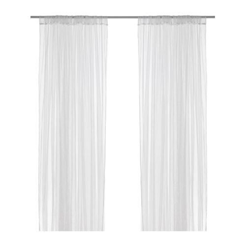 """New IKEA Lill Lace Curtains 1 Pair White 110x98 """" 