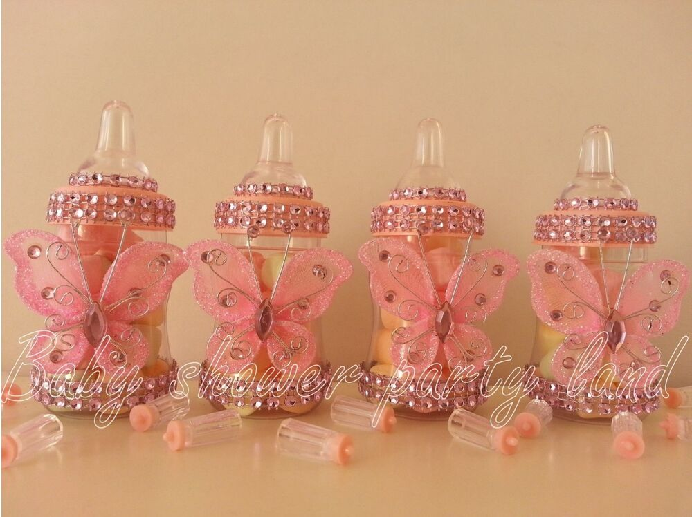 12 pink fillable butterfly bottles baby shower favors for Baby shower butterfly decoration ideas