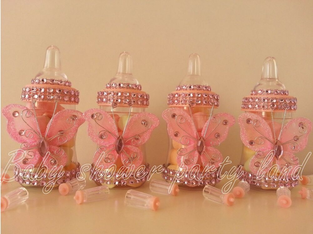 Pink fillable butterfly bottles baby shower favors