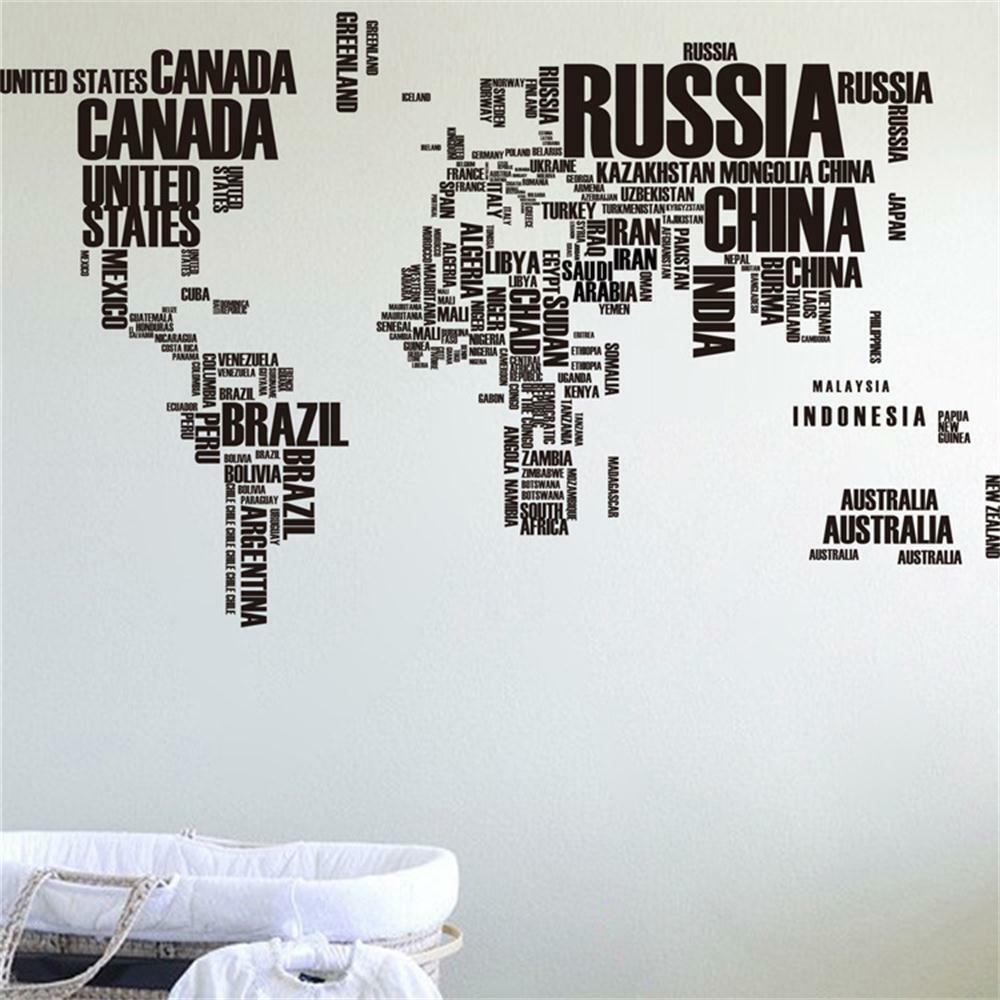 Removable World Map Words Mural Vinyl Wall Decals Sticker Living Room Decor Art Ebay