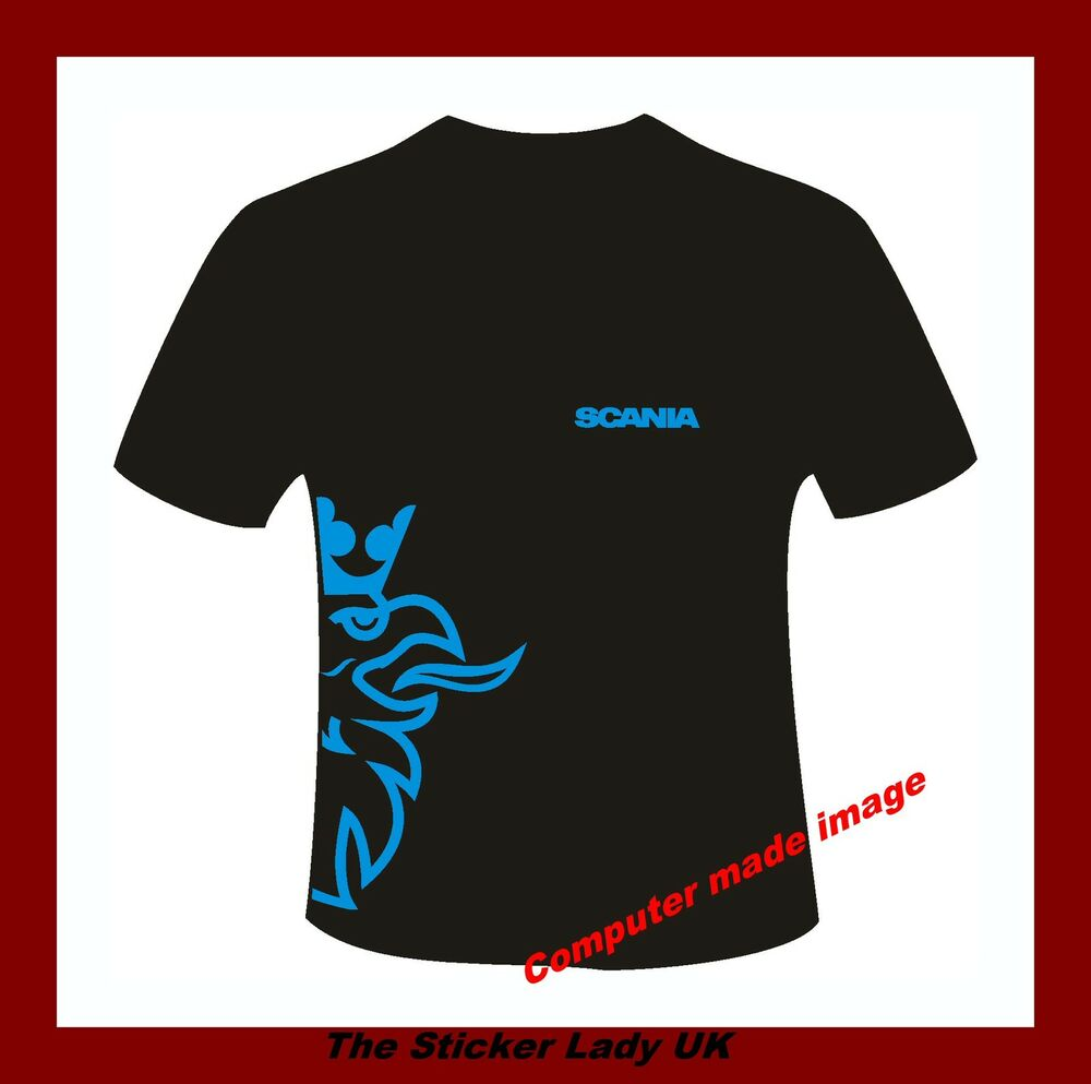 Scania truck logo t shirt sky blue design small to 3xl ebay for Shirts with small logos
