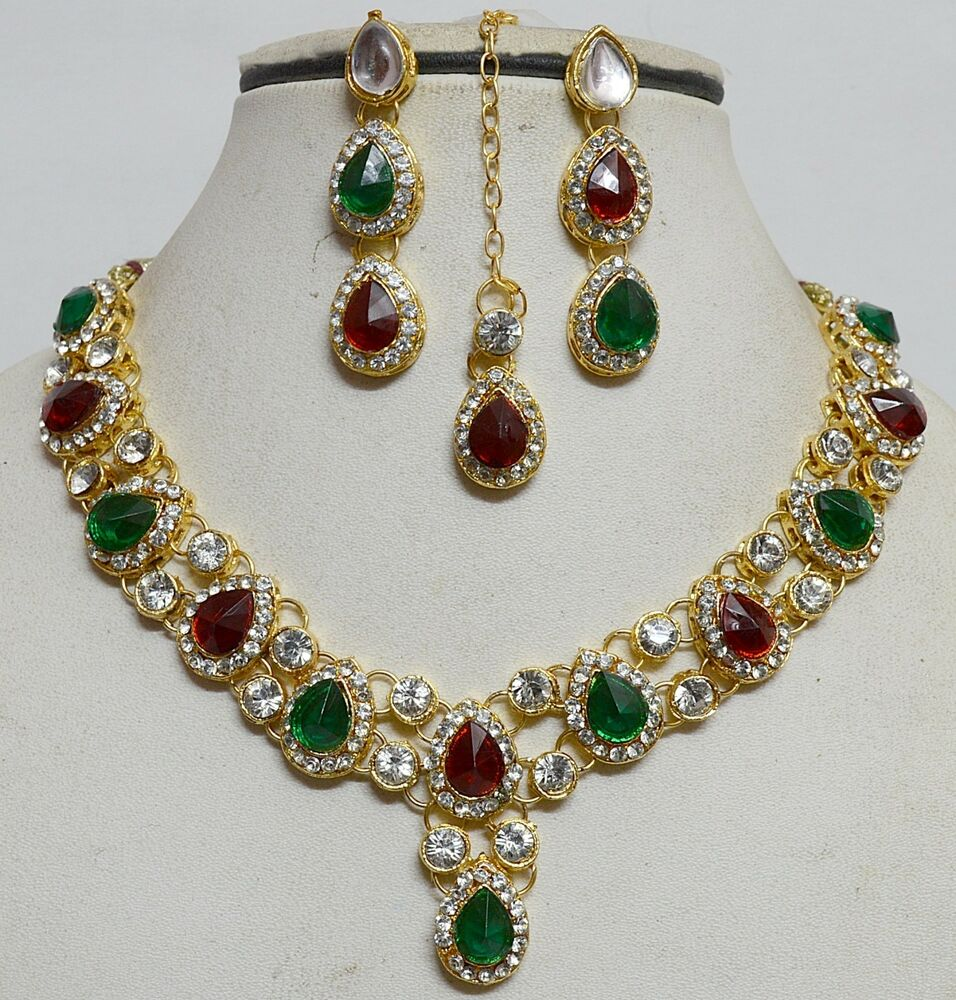 indian gold plated stones kundans necklace earring party