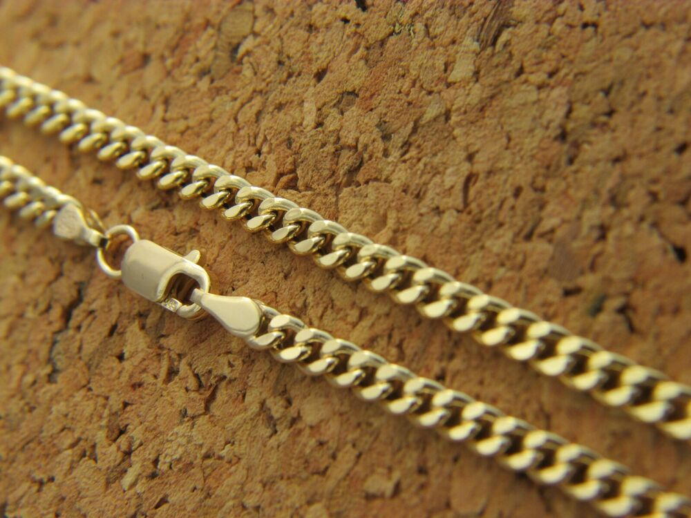 Real 14kt Yellow Gold 2mm Curb Link Cuban Chain Necklace