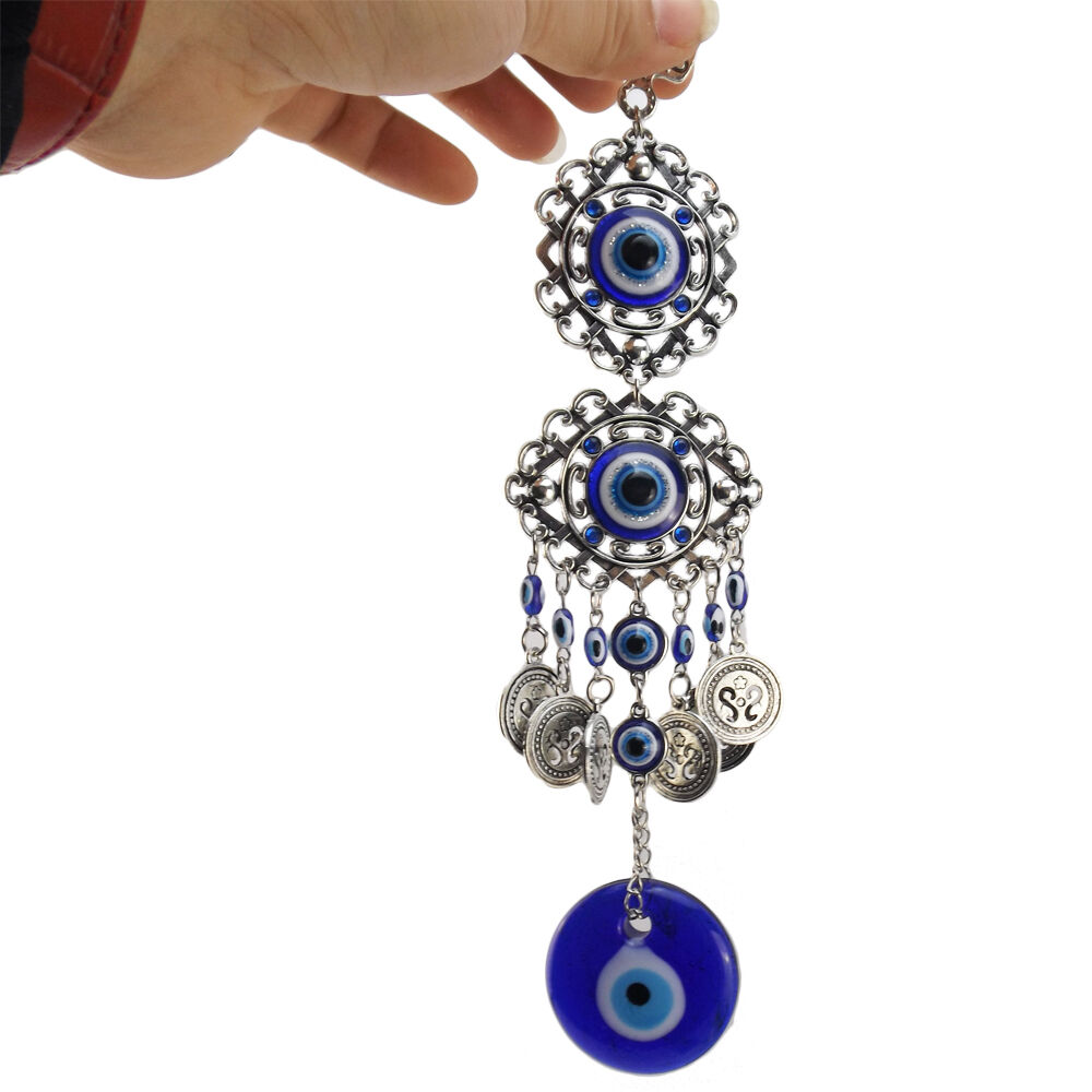 Turkish Blue Glass Evil Eye Amulet Wall Hanging Home
