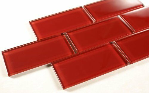 ruby red 3 x 6 red glass tile mosaic bathroom tile