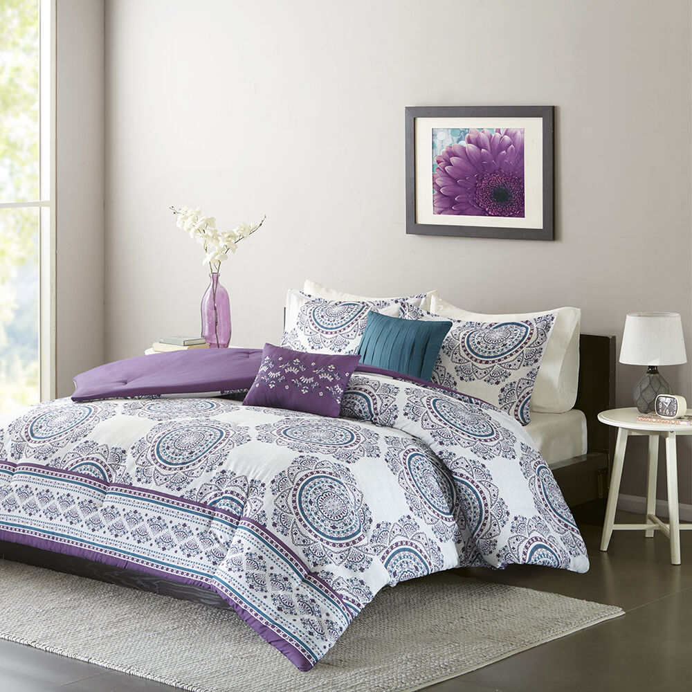 Beautiful Modern Chic Purple Blue Teal White Tropical