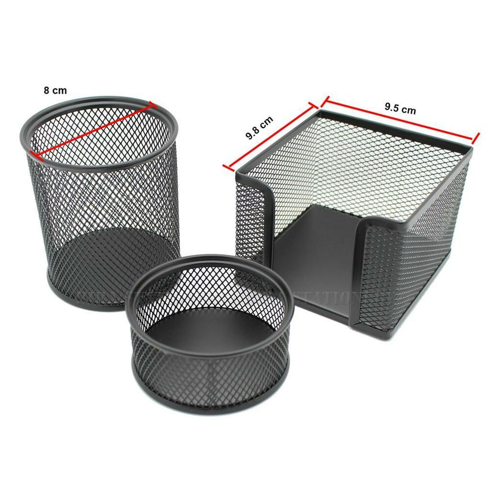 Black Home Office Table Desk Mesh 3 Compartments Metal