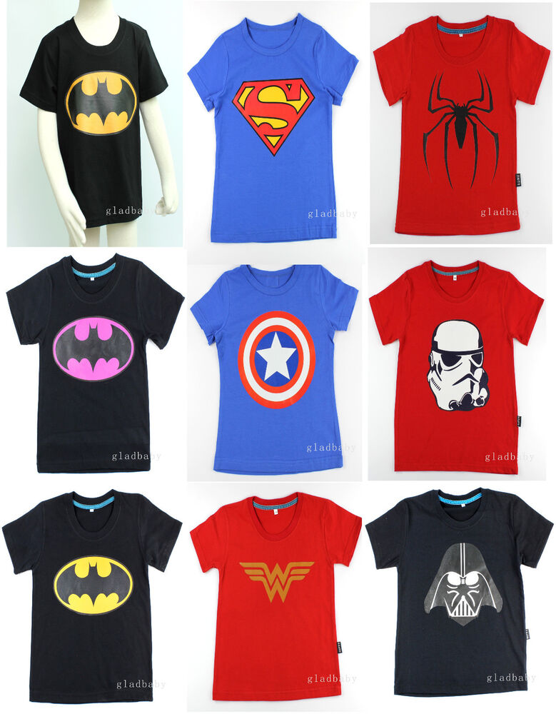 Superhero kids 100 cotton t shirt hallownparty t shirts Boys superhero t shirts
