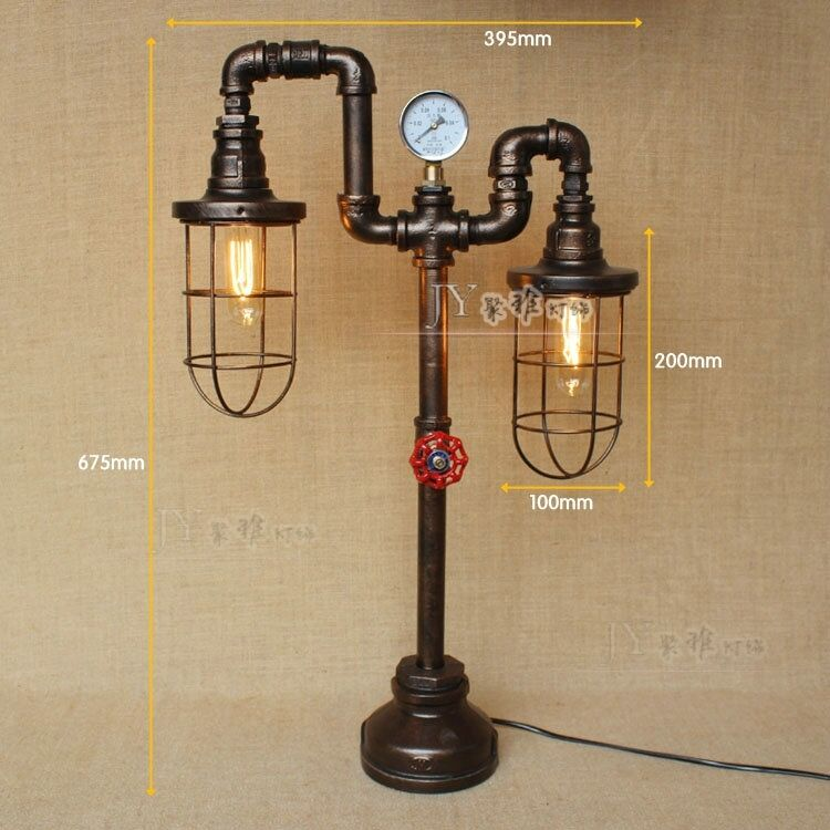 Pipe Lamp Industrial Lamp Urban Pipe Lamp By: Industrial Machine Age Pipe Steampunk Cage Double Antqiue