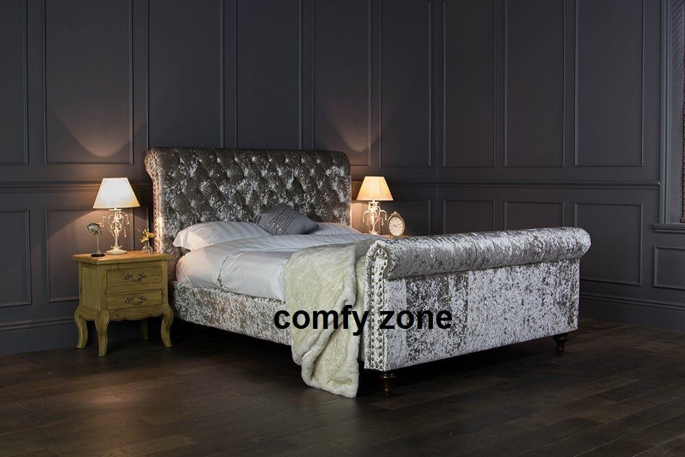 Crushed Velvet Bed Frame 5ft King Size Bedstead Grey
