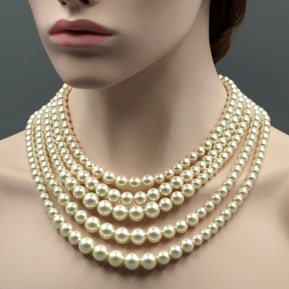 String Pearl Necklace: Creamy White Glass Pearl Multi Layered Strand Bead Chunky