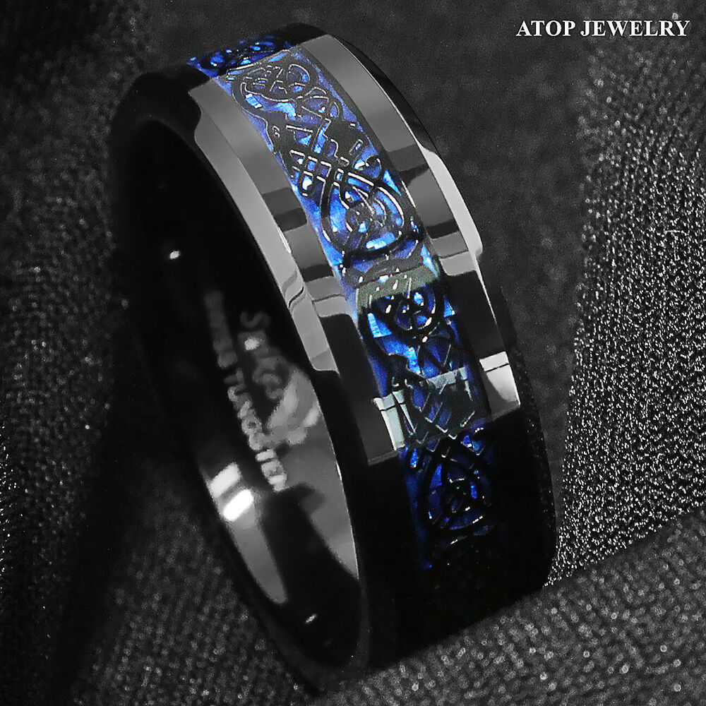 jewelry fj tungsten tur ring inlay style celtic bling wedding par mens rings dragon band