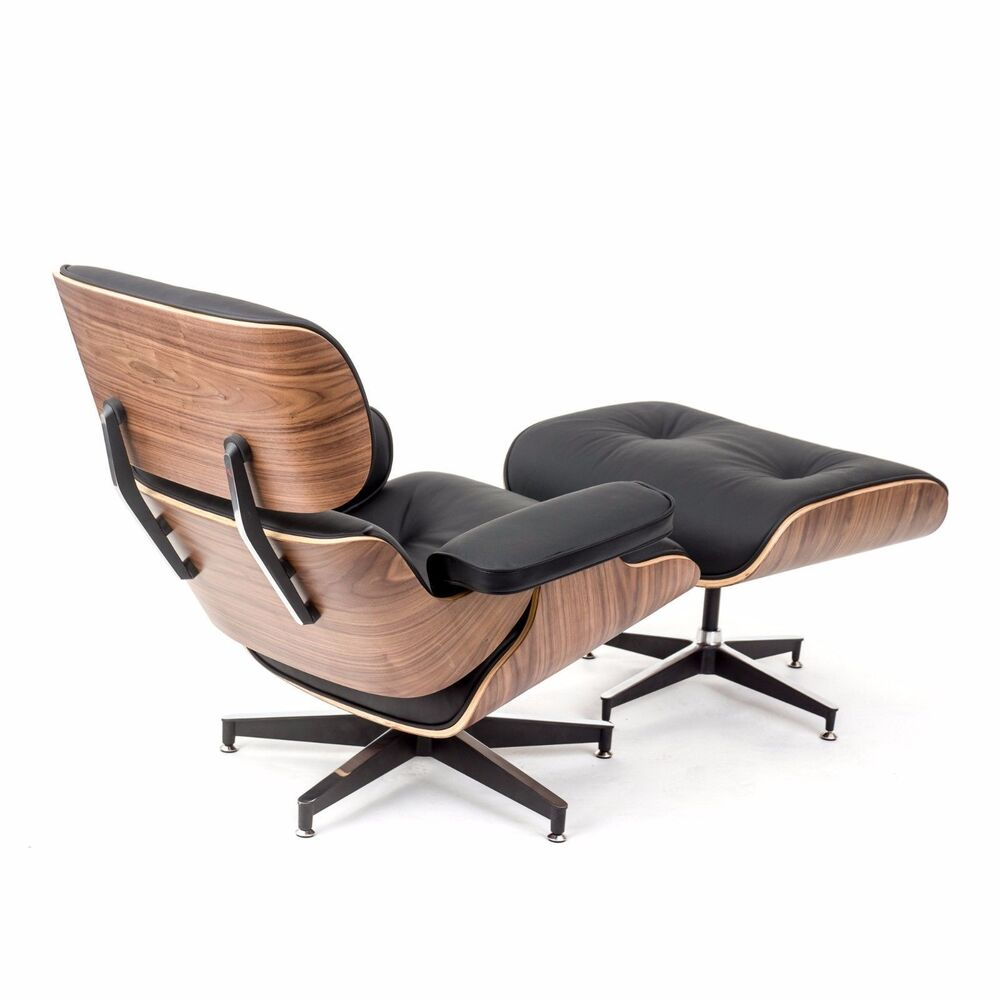 Eames Style Walnut Lounge Chair and Ottoman Set in Black