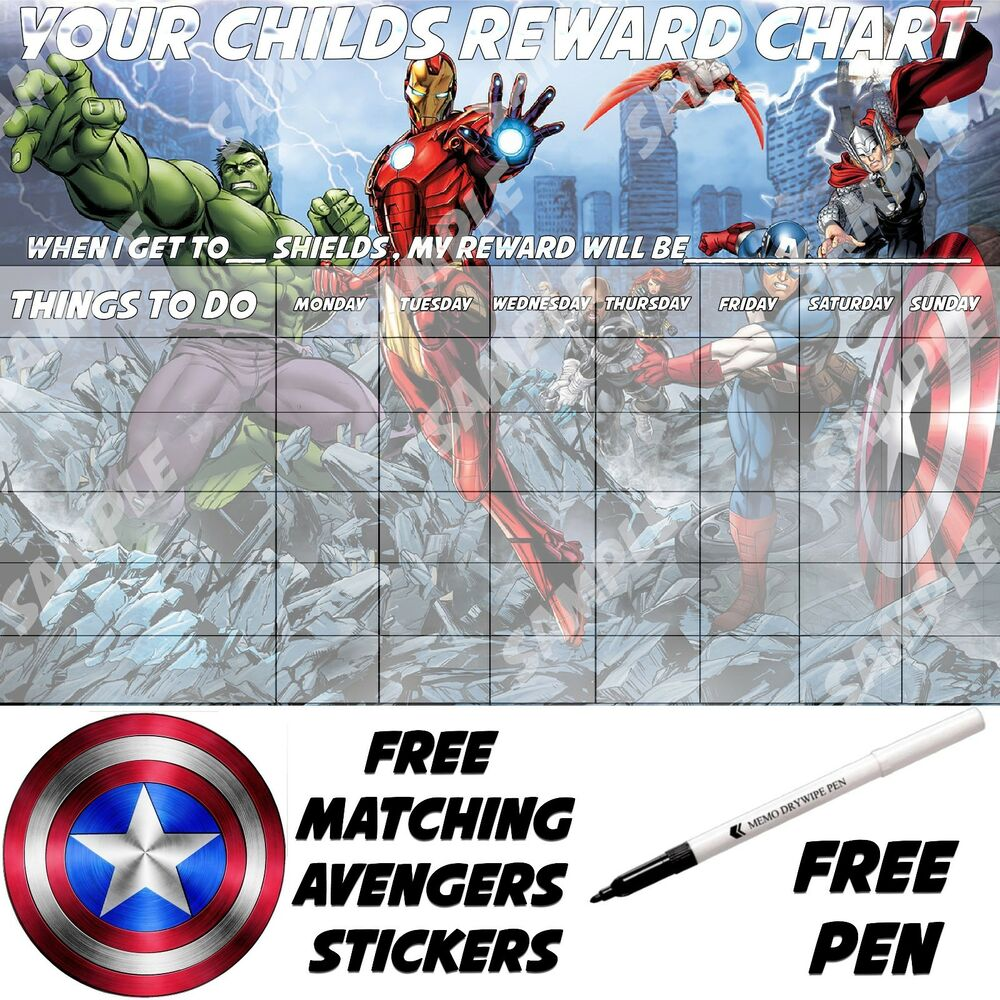 Avengers Personalised Magnetic Reusable Boys Reward Chart