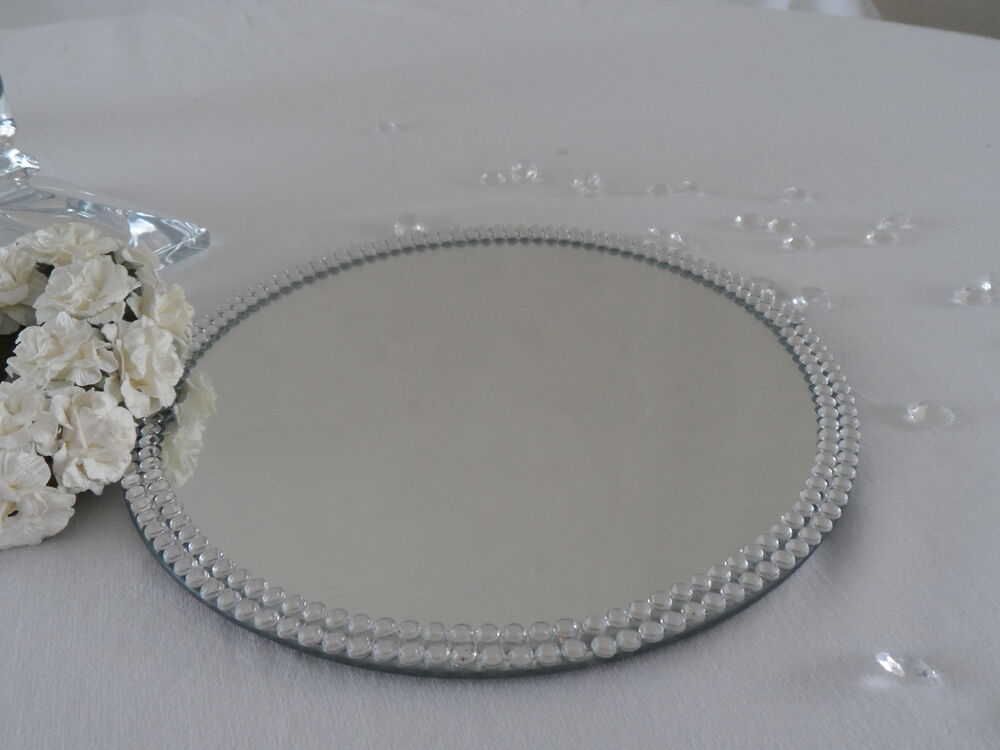 Cm round jewel diamante mirror glass table