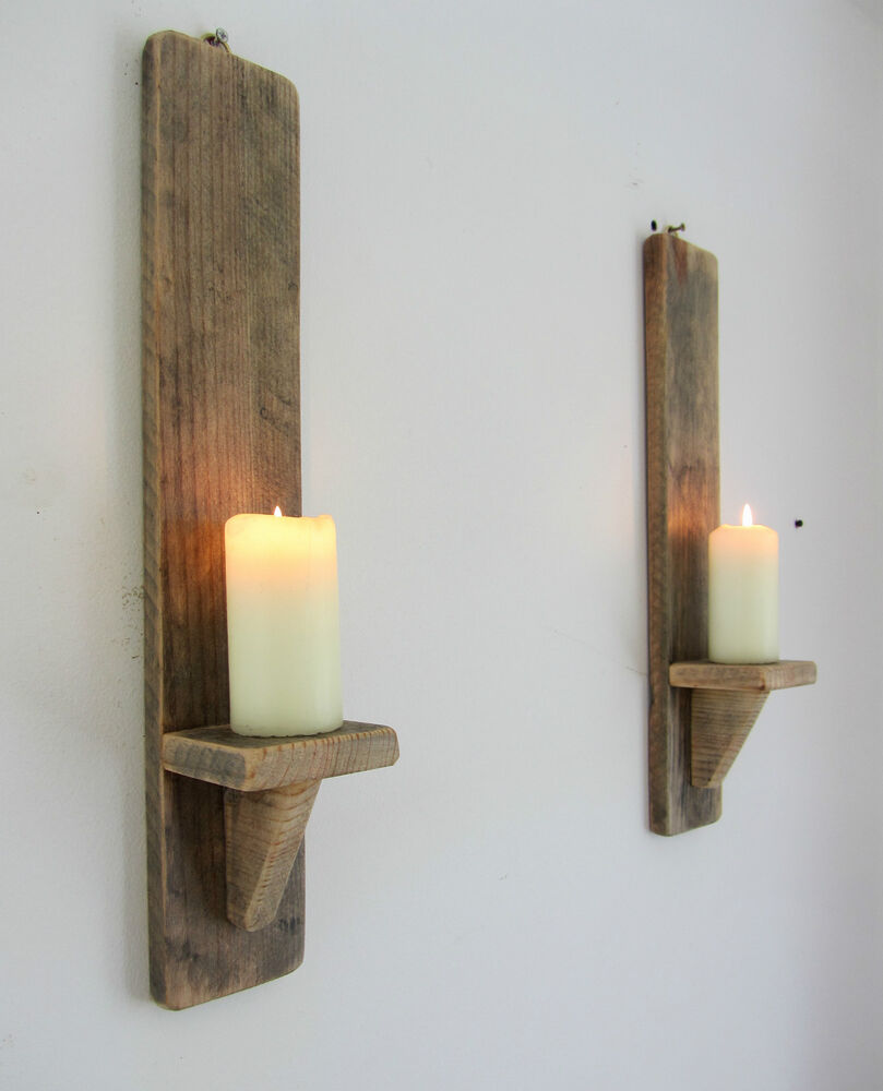 PAIR OF 50CM RECLAIMED PALLET WOOD SHABBY CHIC WALL SCONCE CANDLE HOLDER eBay