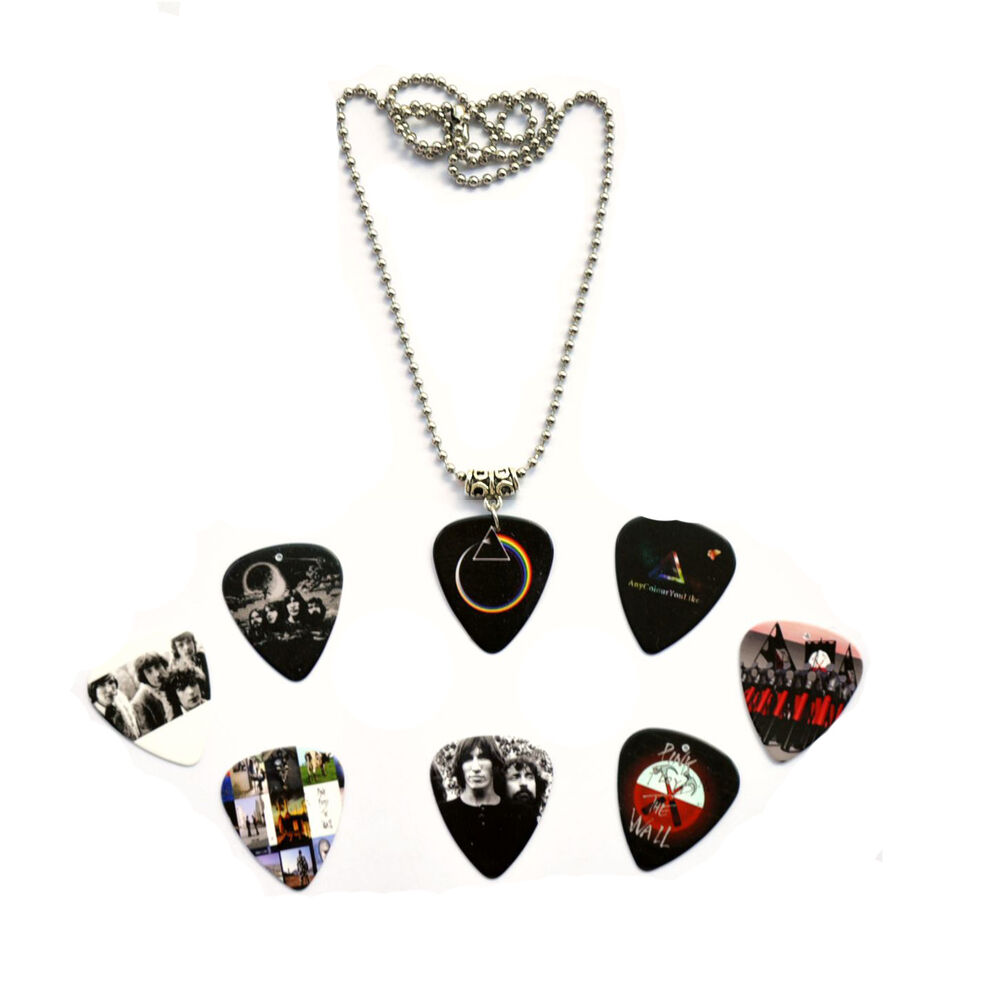 hand made pink floyd guitar pick plectrum necklace 50cm metal bead chain ebay. Black Bedroom Furniture Sets. Home Design Ideas