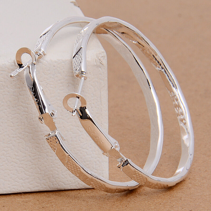 Hot Wholesale Women's Silver Large Round Drop Dangle Hoop ...