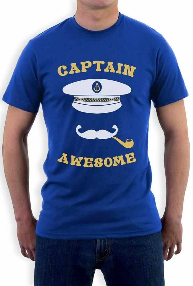 Captain Awesome Fishing Boat Cool Fisherman Sailing T