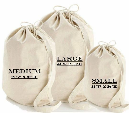 Heavy Canvas Laundry Bag With Shoulder Strap Handle Size