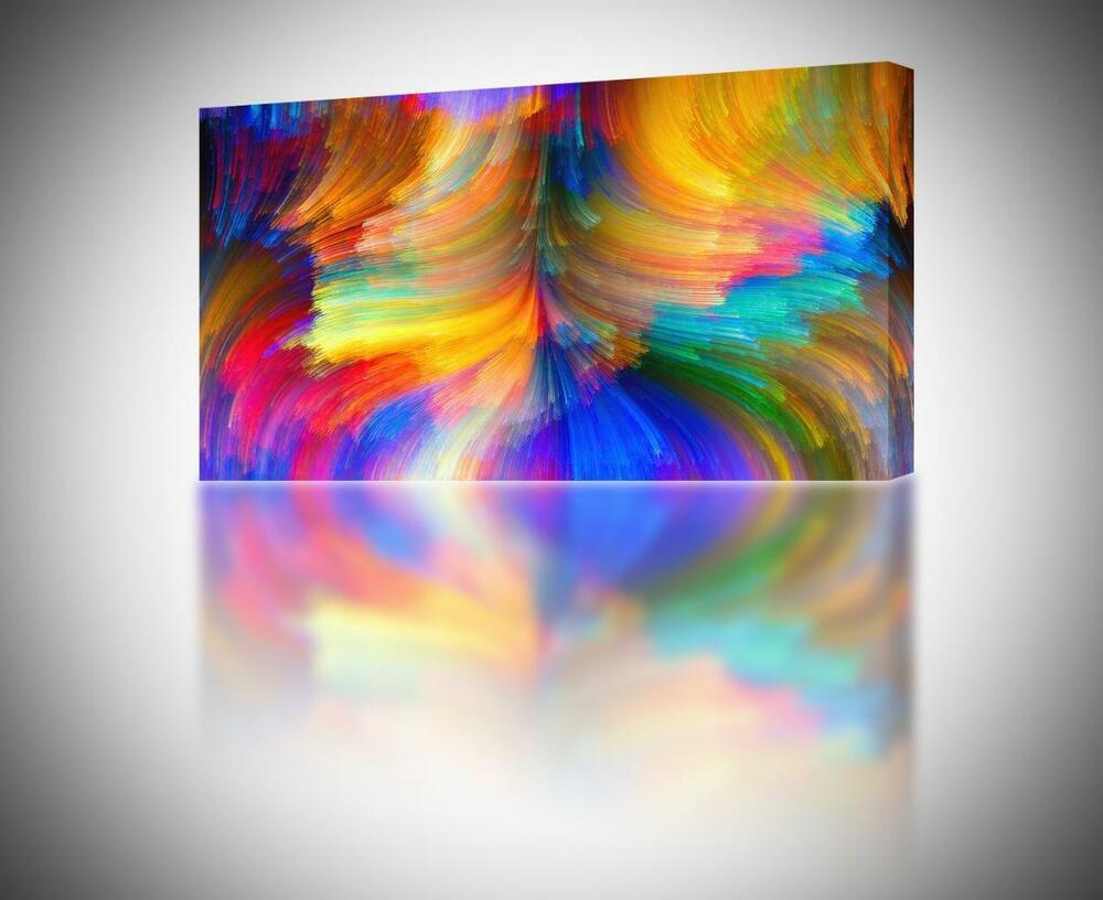 4 sizes abstract brush strokes colorful canvas print for Colorful wall art