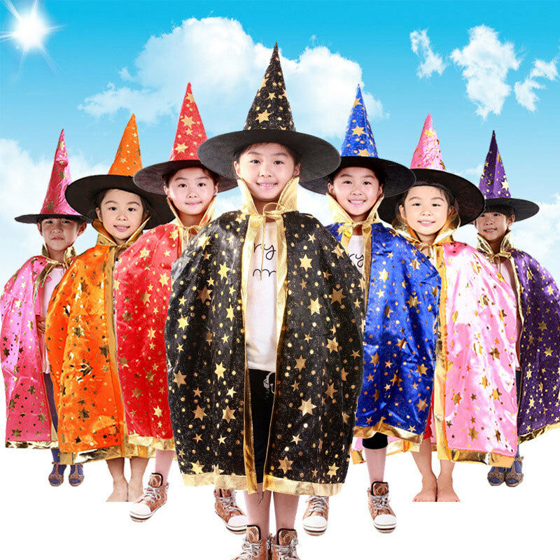 Robe And Wizard Hat: Children Kids Halloween Costume Wizard Witch Cloak Cape