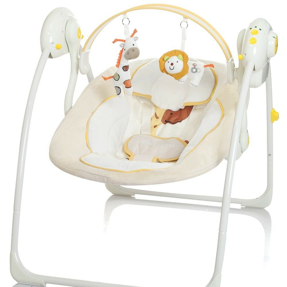 elektrische babyschaukel automatische baby wiege wippe little world creme neu ebay. Black Bedroom Furniture Sets. Home Design Ideas
