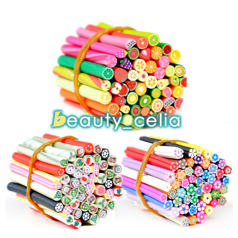 50 x 3d nail art fimo canes sticker rods acrylic uv decor for 3d nail art fimo canes rods decoration
