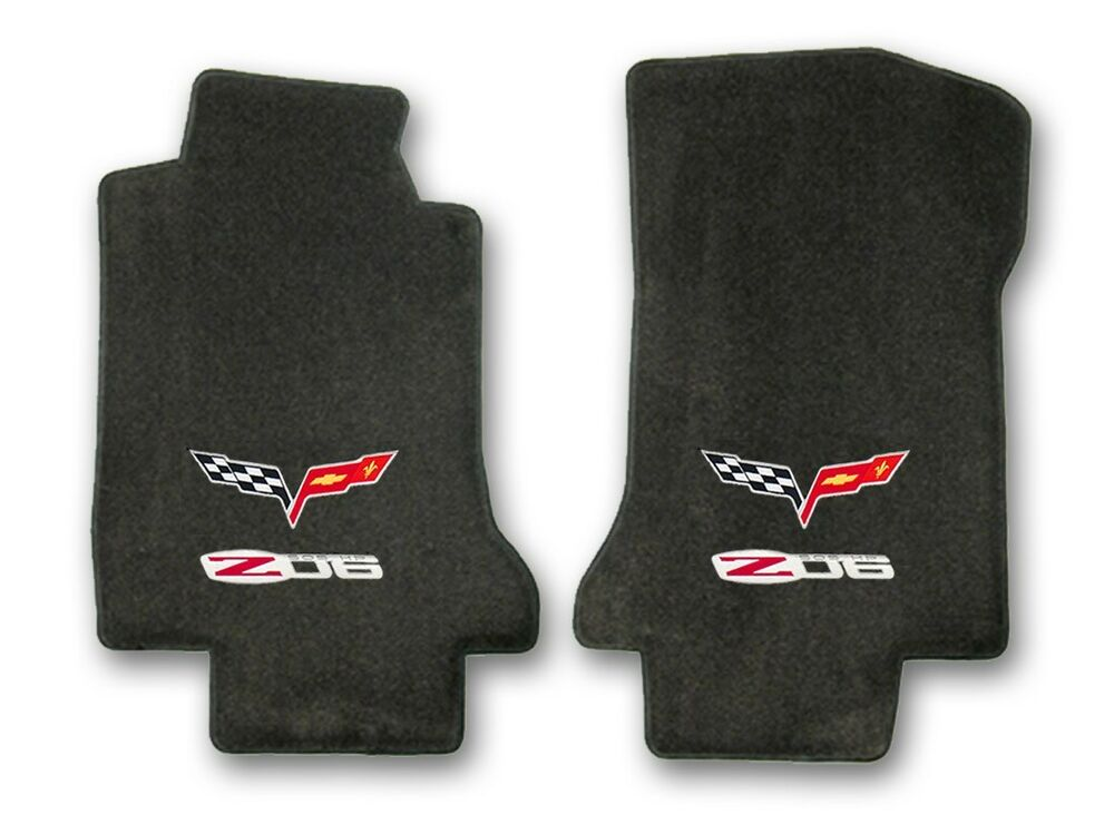 2006 2007 Corvette Coupe 2pc Black Carpet Floor Mats With