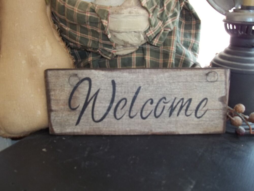 Wood sign welcome prim handmade rustic country wall for I sign decoration