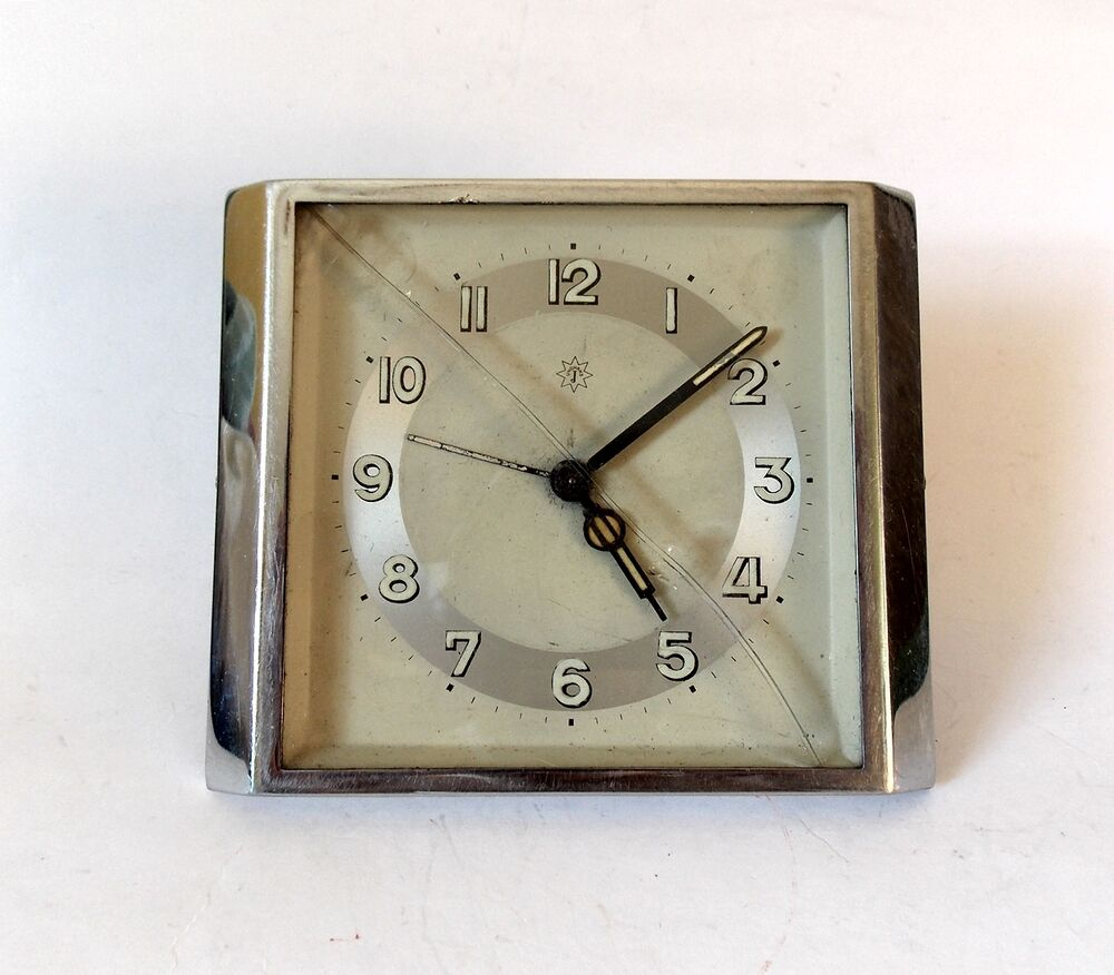 Vintage German 1940s Junghans Art Deco Alarm Clock Table