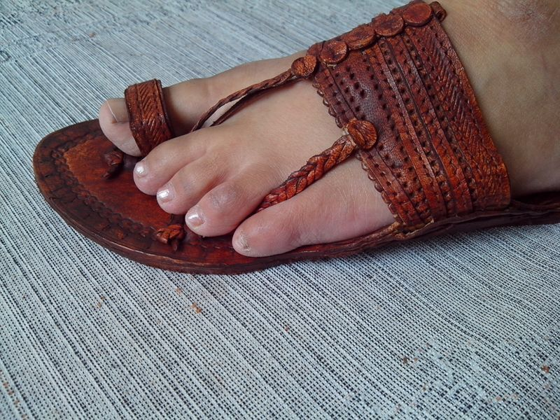 MEN US 9 BUFFALO ANTIQUE LOOK HANDMADE LEATHER SANDAL ...