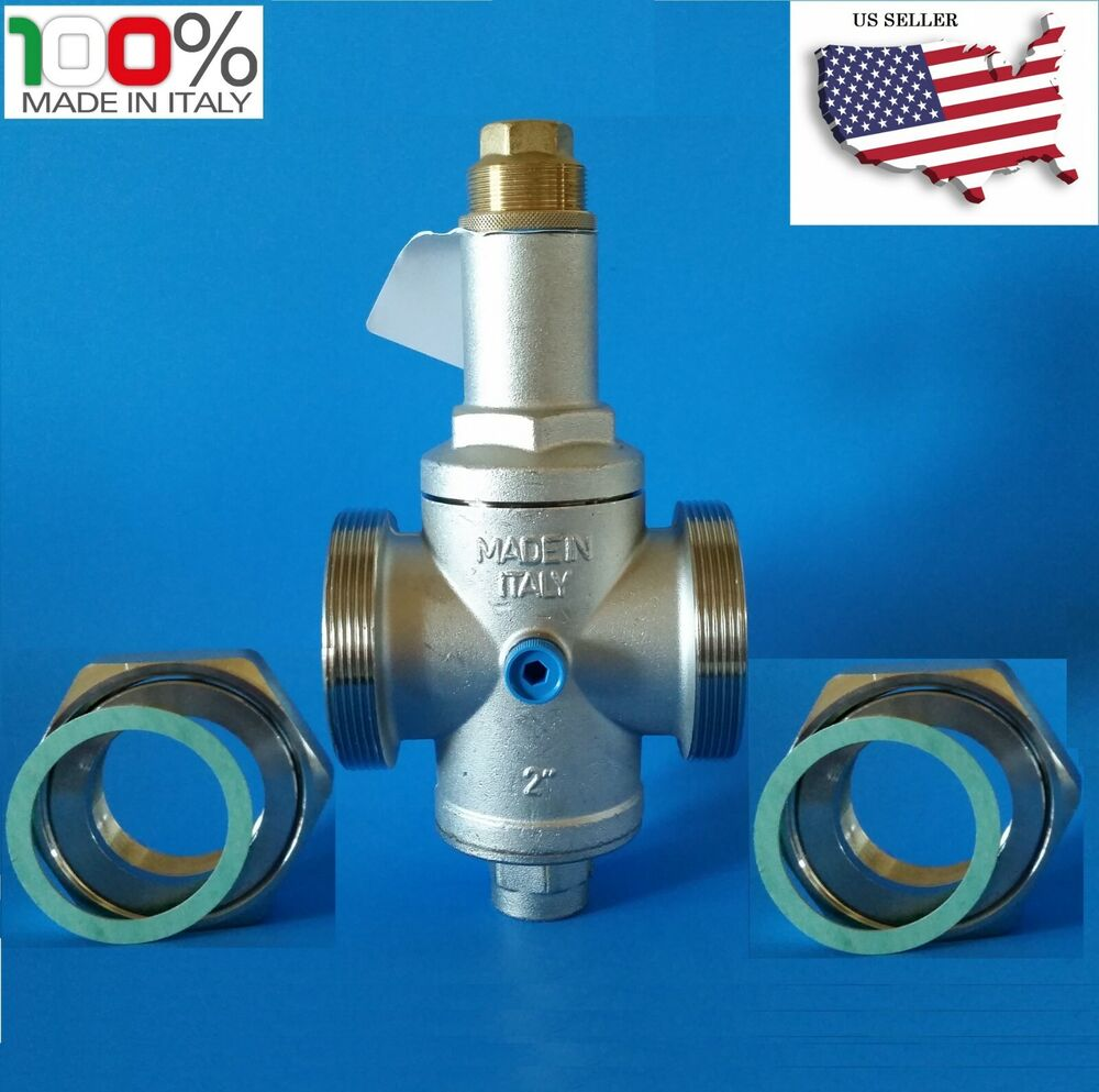 water pressure reducing valve 2 npt double union with gauge farg italy ebay. Black Bedroom Furniture Sets. Home Design Ideas