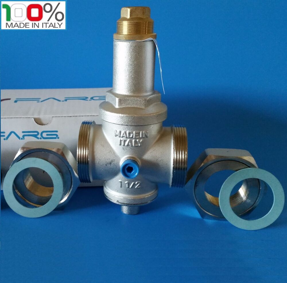 water pressure reducing valve 11 2 npt double union with gauge farg italy ebay. Black Bedroom Furniture Sets. Home Design Ideas