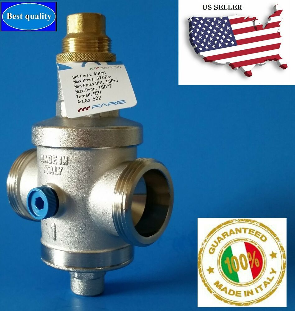 water pressure reducing valve 1 npt double union with gauge farg italy ebay. Black Bedroom Furniture Sets. Home Design Ideas