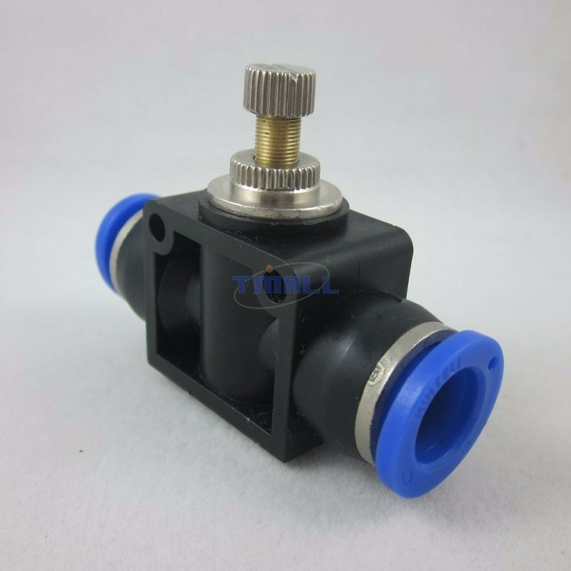Pneumatic flow speed control valve tube inch push in
