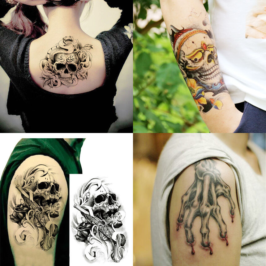 4 sheets set large 3d skull temporary tattoos sticker body for Fake body tattoos