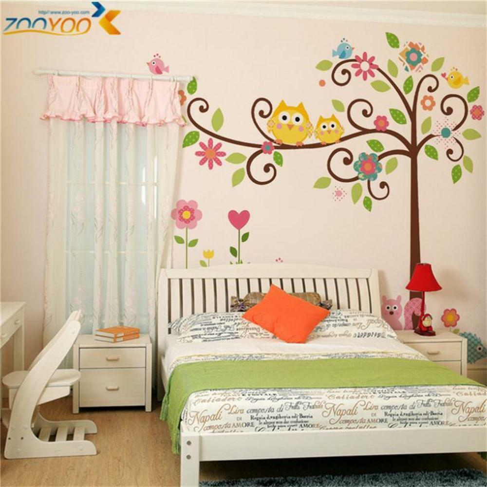 Owl wall decals colorful tree wall arts diy animal wall for Wall stickers for kids room