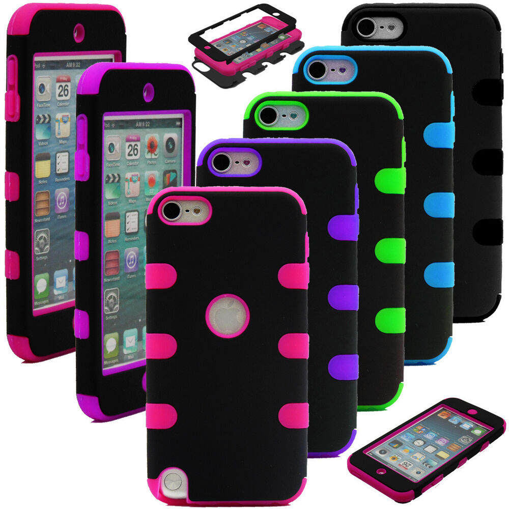 High impact hybrid rubber matte hard case cover skin for for Housse ipod touch 5