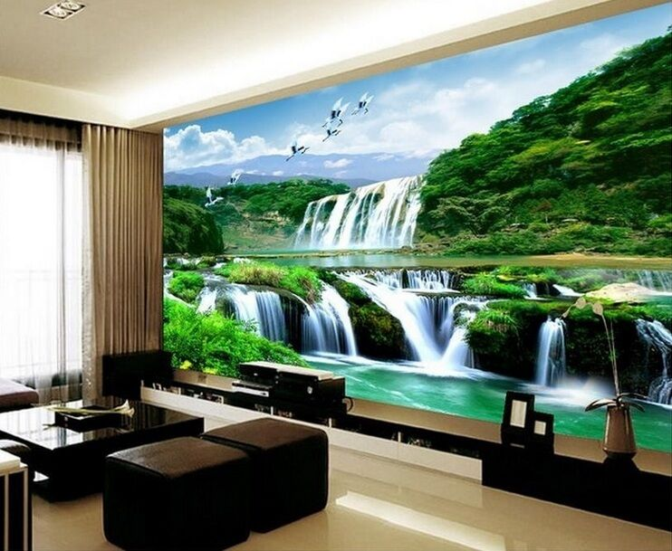 3d wallpaper bedroom mural roll landscape waterfall modern for Images of 3d wallpaper for bedroom