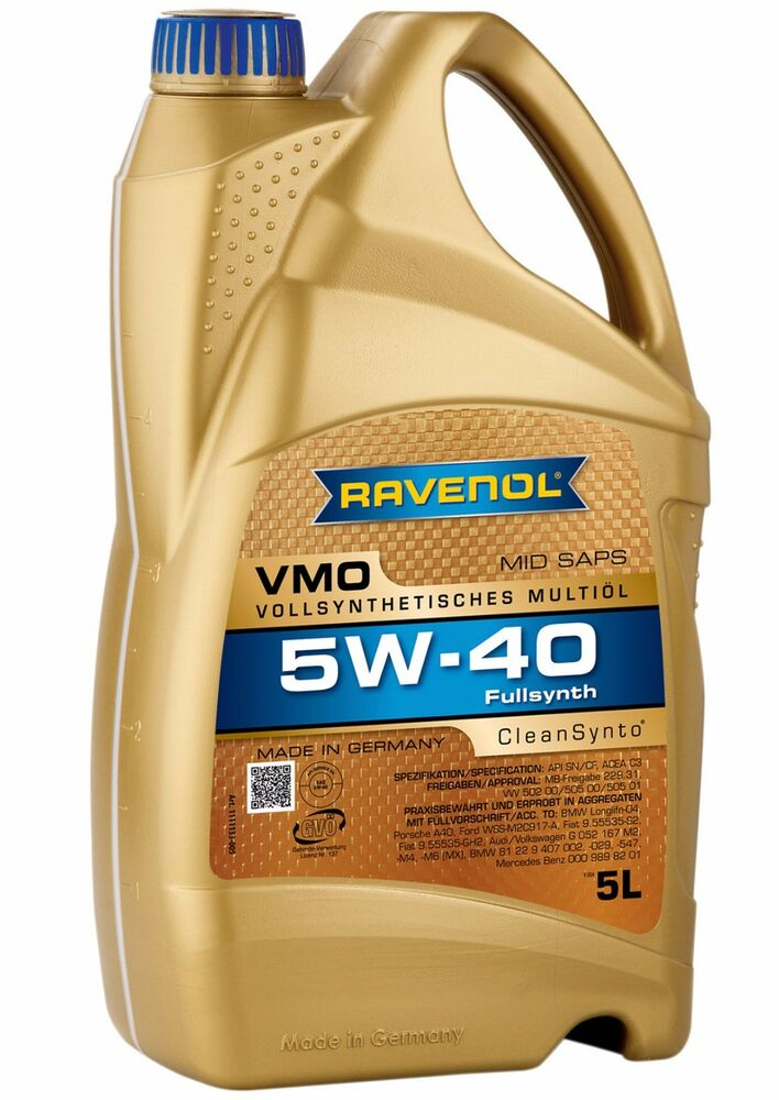 ravenol vmo 5w40 motor oil vw 502 00 505 00 505 01 mb. Black Bedroom Furniture Sets. Home Design Ideas