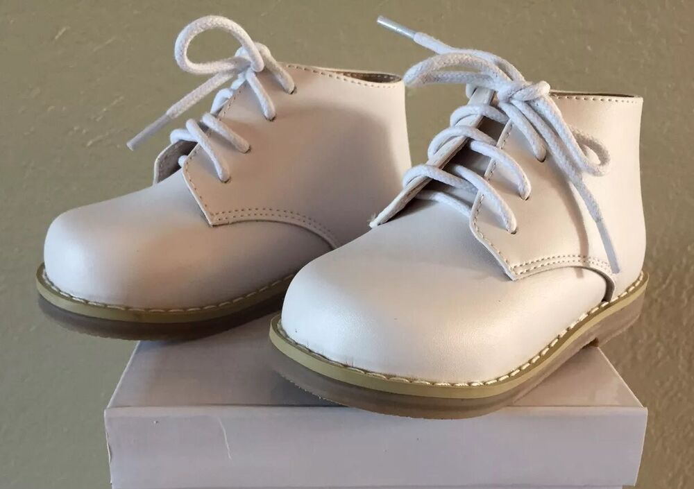 Toddler Walking Shoes White Leather Boy Girls US Size 2